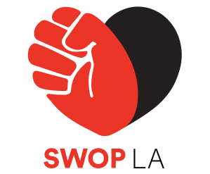SWOPLA Logo - A black & red heart with the red portion forming a fist.